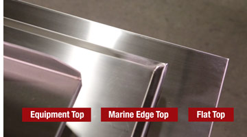 Stainless steel top options